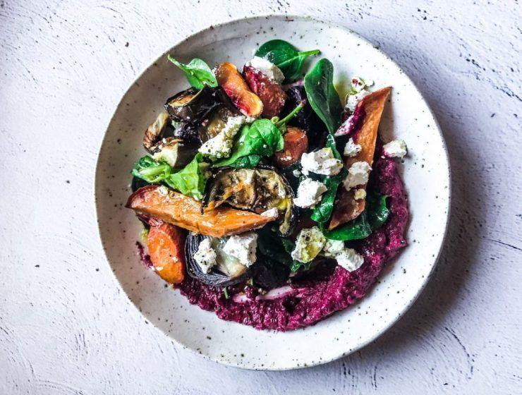 Roasted Veggie + Goat's Feta Salad